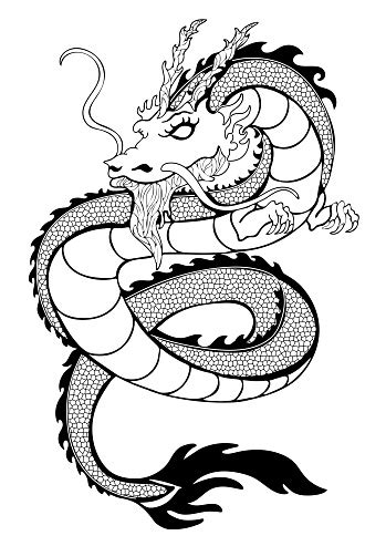 Dragon Coloring Decorative Outline Black And White Drawing