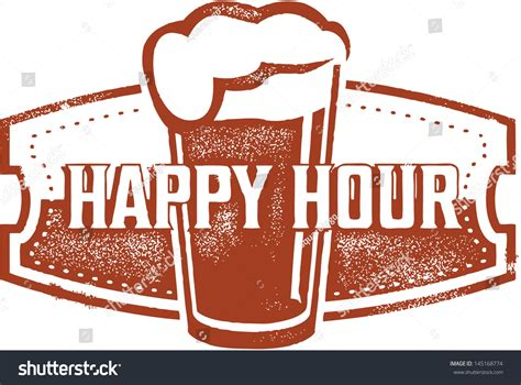 happy hour beer bar stamp stock vector illustration