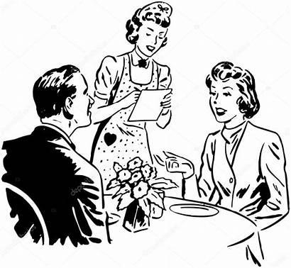 Waitress Order Taking Illustration Vector Depositphotos