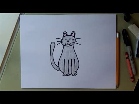 draw  cat easy drawing tutorial  kids youtube