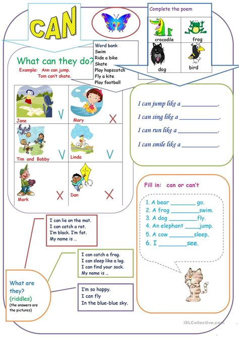 Can For Kids Worksheet  Free Esl Printable Worksheets Made By Teachers