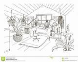 Attic Drawing Scandinavian Hygge Cozy Mansard Monochrome Furnished Decorated Cabinet Modern Desk sketch template