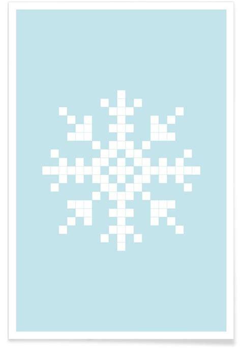 pixel snowflake blue  premium poster  juniqe juniqe