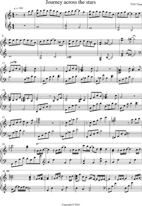 piano sheet music 星空之旅程 journey across the stars www