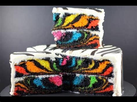 rainbow zebra cake     surprise  zebra