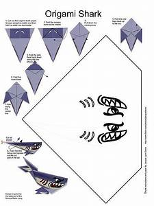 Printable Origami Shark With Pattern And 7 Steps To