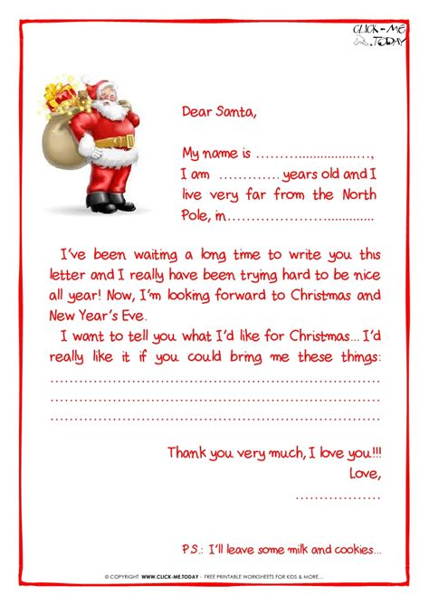 printable sample letter  santa claus  ps santa