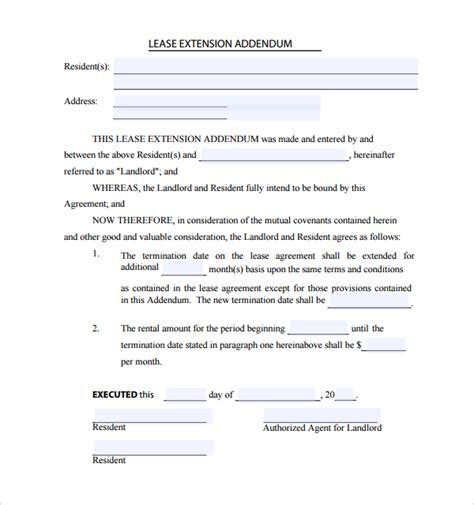addendum template 15 lease addendum forms to for free sle templates