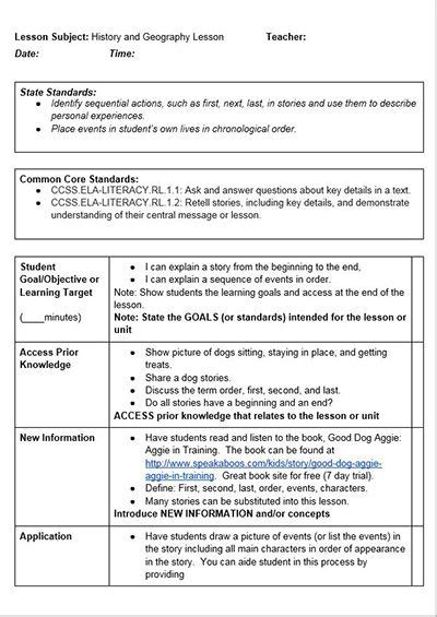 lesson plan template  common core lesson plans