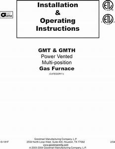 Goodman Gmt045 3b 1605934l User Manual Gas Furnace Manuals