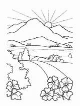 Coloring Sun Drawing Scenery Nature Seek Landscape Sunset Faith Mountain Rising Mountains Printable Colouring Lds Sheets sketch template