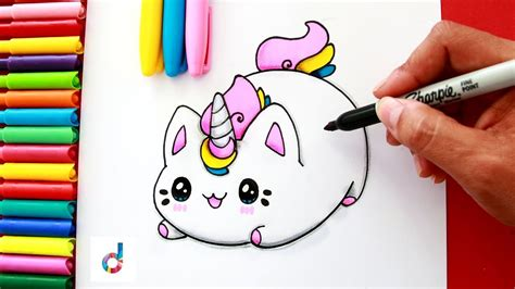 draw  cute unicorn kitten caticorn como