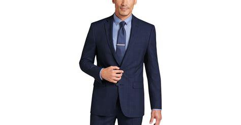 menswear house calvin klein navy plaid slim fit suit s slim fit