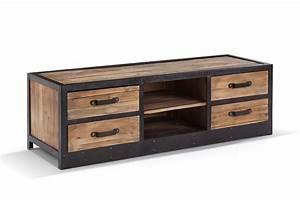 Meuble Bois Metal : meuble tv bas industriel vintage tv02 rose moore ~ Teatrodelosmanantiales.com Idées de Décoration