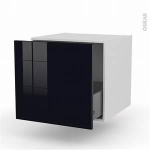 Meuble Cuisine Noir : meuble de cuisine bas suspendu keria noir 1 casserolier l60 x h57 x p58 cm oskab ~ Teatrodelosmanantiales.com Idées de Décoration
