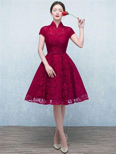 wine red   lace qipao cheongsam wedding dress