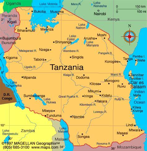 tanzania map infoplease