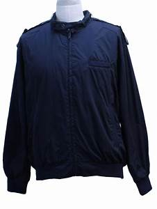 Retro 80's Jacket: 80s -Towncraft- Mens dark blue cotton