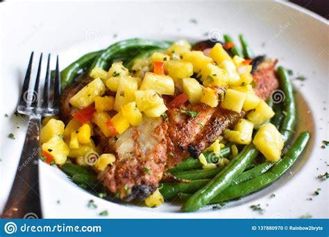 grouper salsa beans blackened mango rice yellow herb