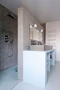 Plaque Etanche Douche : plan vasque en carreaux de pl tre sur cloison douche italienne ~ Zukunftsfamilie.com Idées de Décoration