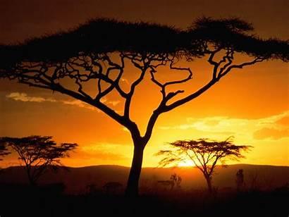Africa Sunset Desktop African Backgrounds Nature Landscape