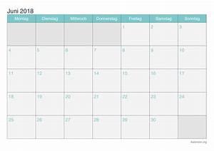 Kalender Juni 2018 zum Ausdrucken iKalender