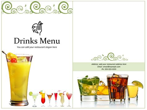 cocktail menu template 3 free lunch menu templates small business resource portal