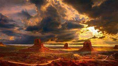 Sunset Orange Mountains Valley Monument Arizona During