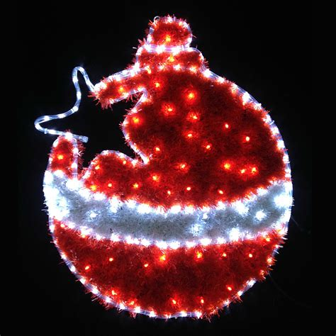 red white led tinsel christmas bauble flashing indoor