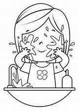 Wash Basin Bathroom Clip Coloring Face Illustrations Drawing Washing sketch template