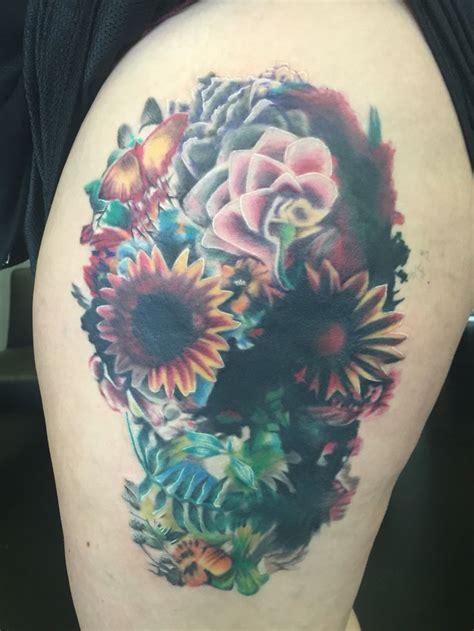 flower skull tattoos ideas  pinterest pretty skull tattoos tattoo sleeve filler