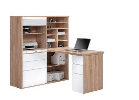 ensemble bureau et rangement bureau contemporain avec rangement chêne sonoma blanc