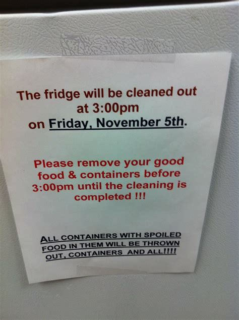 fridge cleaning    kind  signs
