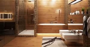 1001 modeles inspirants d39une salle de bain avec parquet With carrelage adhesif salle de bain avec petit neon led
