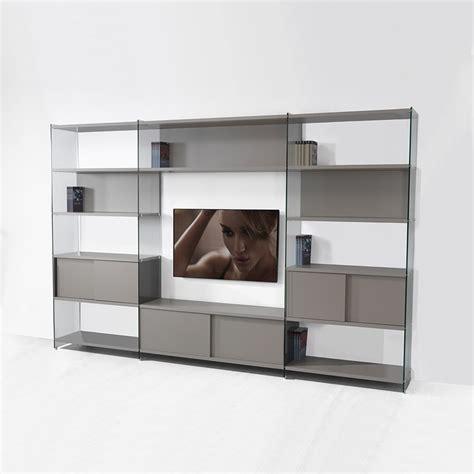 porta parete parete attrezzata porta tv in laminato e vetro 310x200 cm