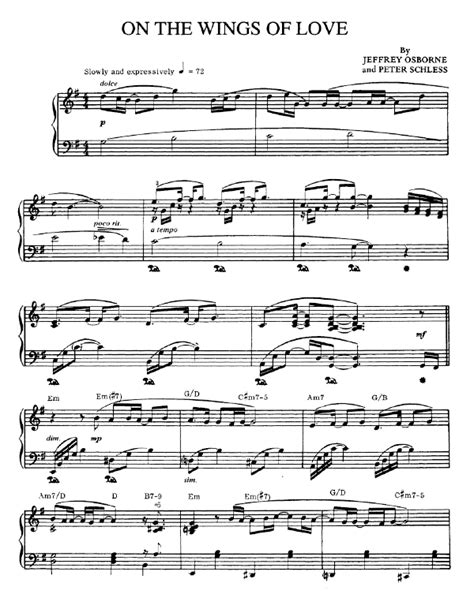on the wings of love sheet music jeffrey osborne