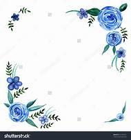 Blue Watercolor Flower Border Clip Art