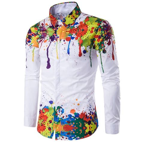 colorful shirts colorful splatter paint pattern turndown collar