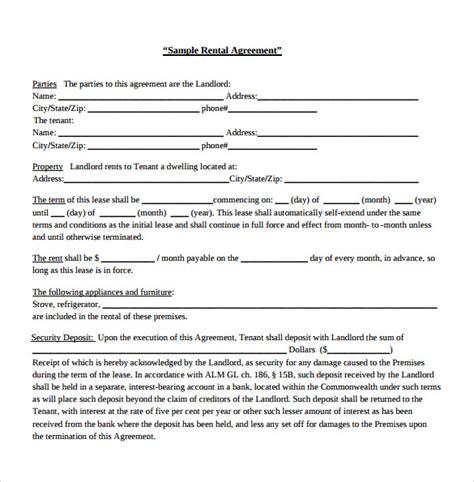 sample generic rental agreement templates