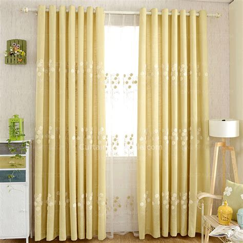 Yellow Bedroom Curtains by Exquisite Embroidered Floral Pattern Yellow Bedroom Curtains