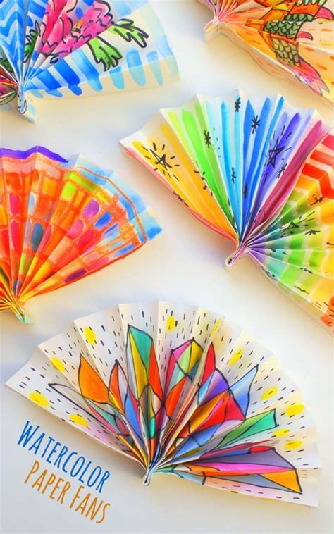 Watercolor Painted Paper Fans  Craft Ideas For The