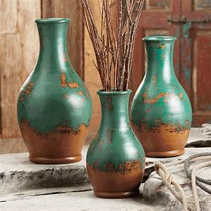 Turquoise Teardrop Pottery Vases - Set of 3