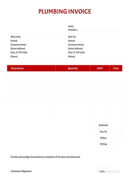 plumbing invoice template  word excel psd