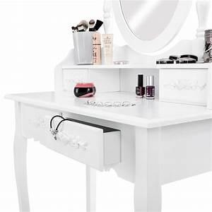 Meuble A Maquillage : coiffeuse meuble table de maquillage tabouret commode avec miroir 4 tiroir blanc ebay ~ Teatrodelosmanantiales.com Idées de Décoration