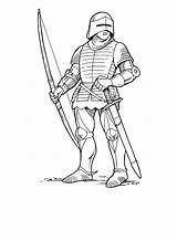 Coloring Archer Norman Pages Knights Soldiers Boys sketch template