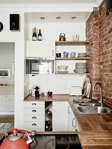 1 la cuisine americaine ikea avec mur de briques rouges With maison grise et blanche 9 comment amenager une petite cuisine idees en photos