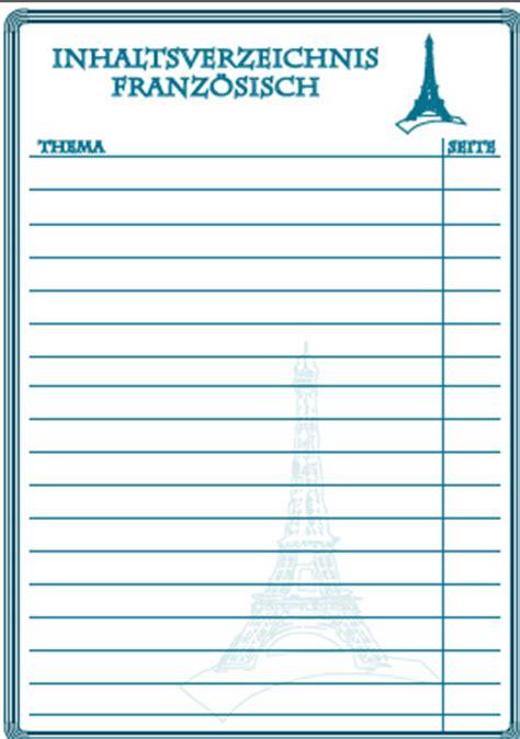 inhaltsverzeichnis franzoesisch ausdrucken