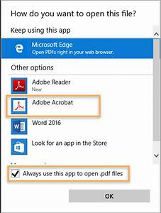 Associate pdf files to always open in acrobat or reader on for Documents open app