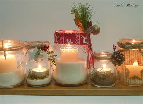 Centro de mesa de navidad con frascos reciclados Handbox