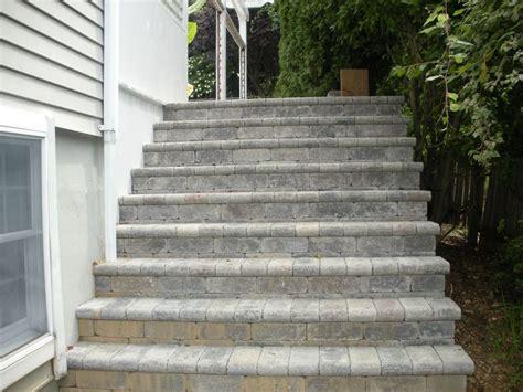 Unilock Steps - paver steps unilock tumbled brussels block paver steps